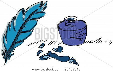 Colored feather pen with ink. Vector illustration