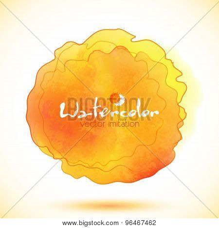 Orange watercolor paint stain, vector imitation