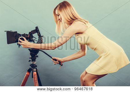 Fashion Blonde Girl With Camera