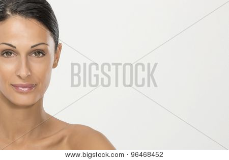 Beauty portraits of nice woman with black hair