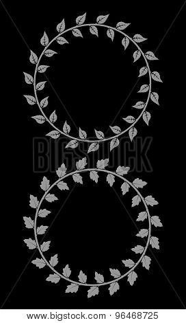 Set Of 2 Decorative Round Floral Frames With Leaves On Black Background
