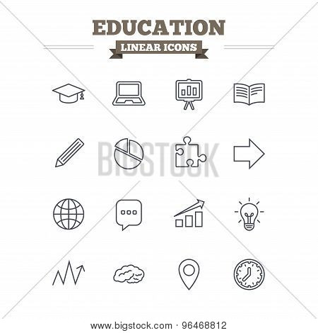 Education linear icons set. Thin outline signs. Vector