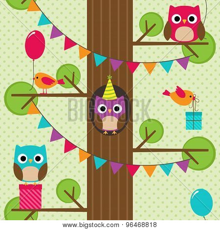 Vector birthday owls pattern