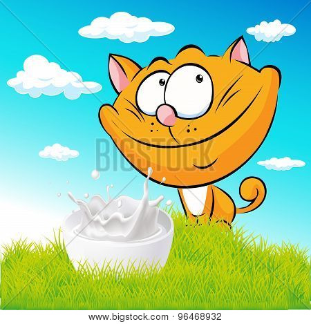Cute Ginger Cat Sitting On Green Grass With Milk - Vector Cartoon