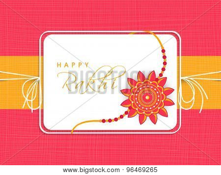 Creative greeting card design decorated with beautiful rakhi for Indian festival of brother and sister love, Raksha Bandhan celebration.