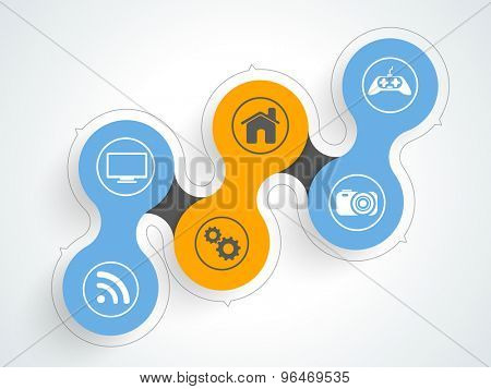 Set of creative web icons on shiny background for technology concept.