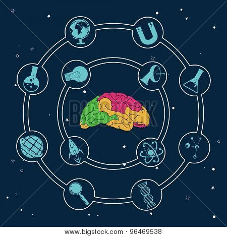 Colorful illustration of human brain with different science symbols on blue background.