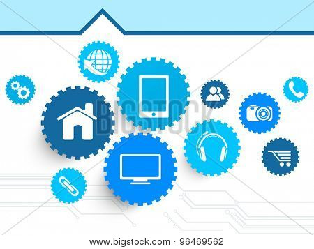 Different web icons in cog wheels on shiny hi-tech background for technology concept.