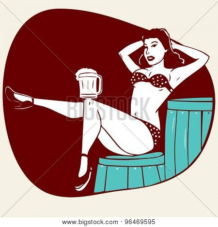 Young retro girl dancing with beer mug on vintage brown background for retro design.