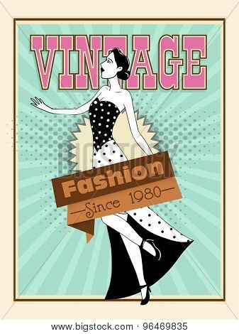 Creative vintage, 1980 fashion flyer, banner or template with young retro girl.