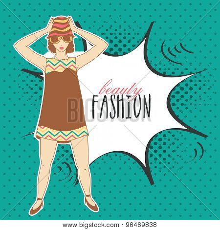 Retro young fashionable girl with stylish text Beauty Fashion on pop art over vintage background.