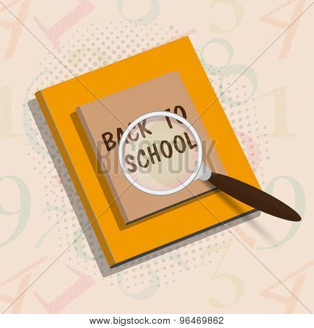 Shiny book with magnifying glass on stylish background for Back to School concept.