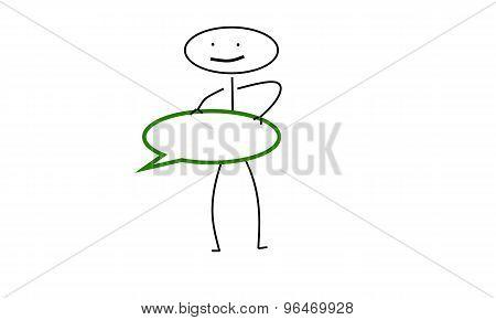 stick man holding speech bubble