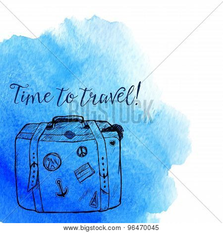 Blue watercolor splash with dark blue sketched suitcase and text Time to Travel