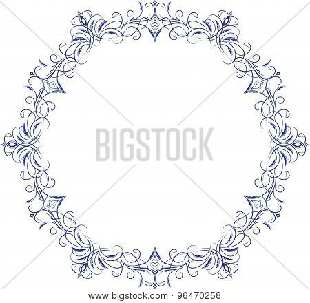 Circle Lace Ornament, Round Ornamental Geometric Doily Pattern With Empty Space For Text. Vector Ill