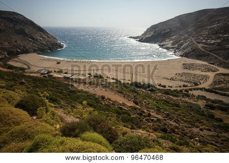 Zorkos Beach On Andros Island, Greece