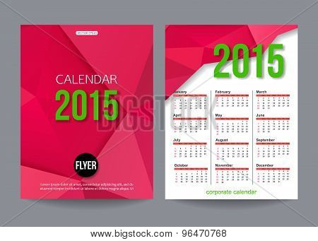 2015 calendar template brochure geometric design. Modern back and front flyer backgrounds.