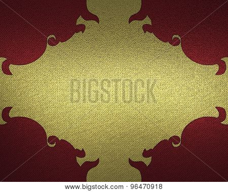 Red Background With Gold Pattern. Element For Design. Template For Design.