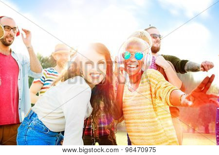 Friendship Party Togetherness Summer Happiness Concept