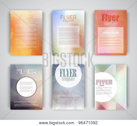 Collection of 6 flyer, flier templates with geometric design