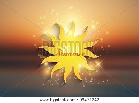 Blurred sunrise, sunset background with hello summer wording on a sun icon