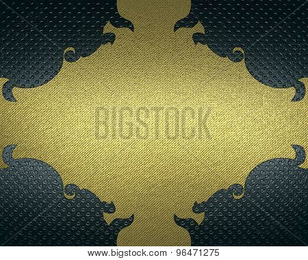 Blue Background With Gold Pattern. Element For Design. Template For Design.