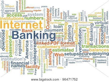 Background concept word cloud illustration of internet banking