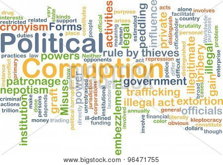 Background concept word cloud illustration of political corruption