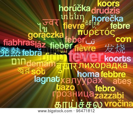 Background concept word cloud multi language international many language illustration of fever glowing light