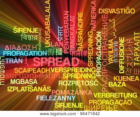 Background concept wordcloud multilanguage international many language illustration of spread glowing light