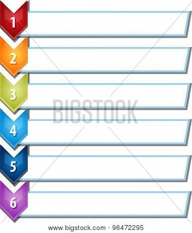 blank business strategy concept infographic chevron list diagram illustration six 6 steps