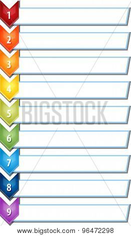blank business strategy concept infographic chevron list diagram illustration nine 9 steps