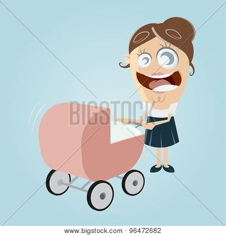 happy mother with pram, baby carriage, baby buggy