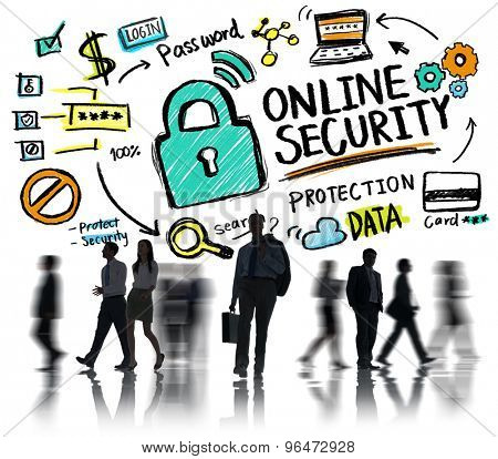 Online Security Protection Internet Safety Business Commuter Concept