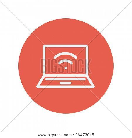 Internet wifi thin line icon for web and mobile minimalistic flat design. Vector white icon inside the red circle