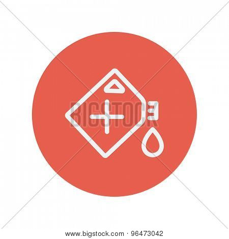 Gas container thin line icon for web and mobile minimalistic flat design. Vector white icon inside the red circle.