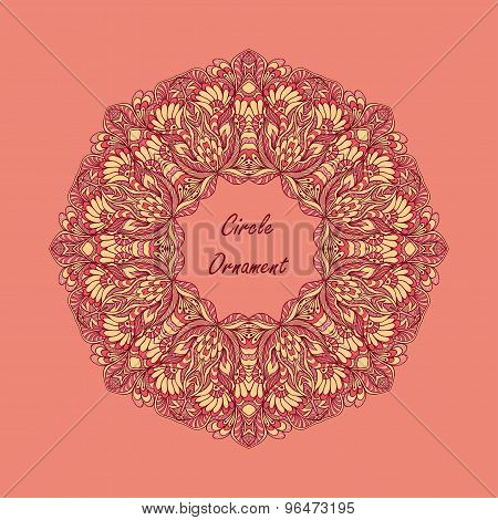 Circle ornament from doodle flowers on pink background
