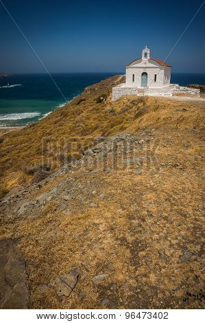 Small Church And Sea Landscape Near  Town Of Andros