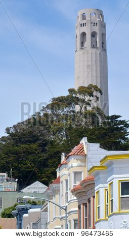 Coit Tower And Old Colourful Buildings In San Francisco Ca