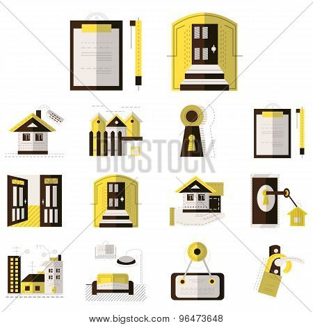 Rental of property flat color vector icons