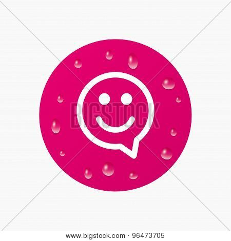 Happy face speech bubble symbol. Smile icon.