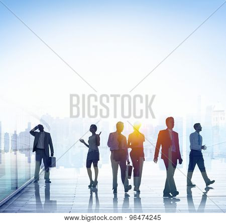 Business People Commuting Walking Discussion Concept