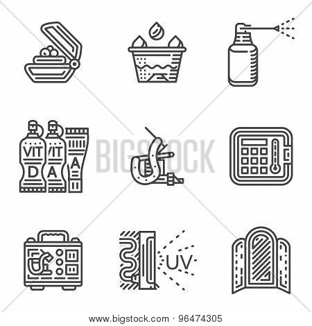 Tattoo procedure line vector icons