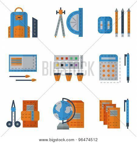 School utensils flat color vector icons