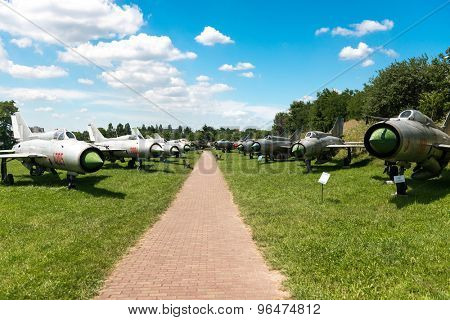 KRAKOW MUSEUM OF AVIATION, POLAND - JUL,  2015:  Exhibition planes in the aviation Museum in Krakow, Poland on July, 2, 2015. In summer often airshows take place here.