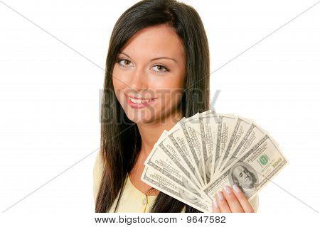 Woman With Dollar Bill