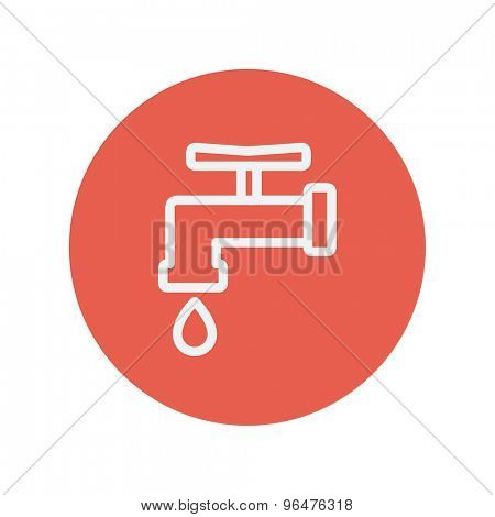 Faucet with water drop thin line icon for web and mobile minimalistic flat design. Vector white icon inside the red circle.