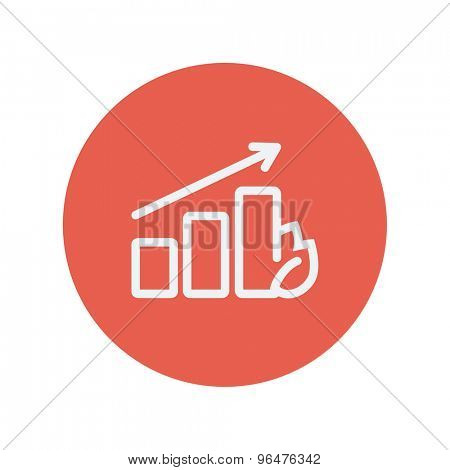 Growing graph thin line icon for web and mobile minimalistic flat design. Vector white icon inside the red circle.