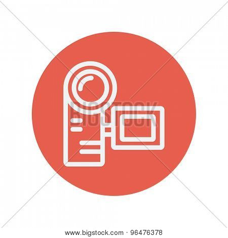 Camcorder thin line icon for web and mobile minimalistic flat design. Vector white icon inside the red circle.