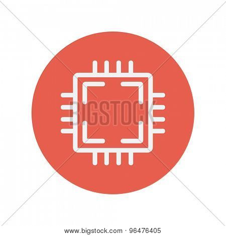 Circuit board thin line icon for web and mobile minimalistic flat design. Vector white icon inside the red circle.